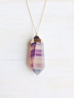 Fluorite pendant necklace crystal point necklace by SummerBucket, $87.00