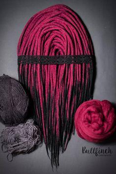 Maroon and black wool dreadlocks woolies by BullfinchHandmade