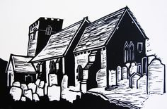 "Linocut print of Cwmyoy Church, Brecon Beacons. Black and white lino print, 6"" x 4 ""."