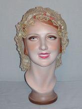 Vintage Edwardian Silk Boudoir Cap With Rosettes and Lace