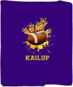 Personalized Football Fleece Blanket  Your Name/Text  by redbeauty