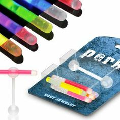 Tongue Rings Glowstick Barbell Holder plus pack glowsticks Body Accentz® Body Accentz Tongue Ring. $4.99