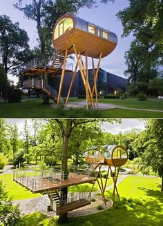 Spider's Leg Tree house by Germany's tree house makers extraordinaire Baumraum. The house is located at World of Living , a showspace/amusement park for sustainable housing company WeberHaus. Unique Buildings, Beautiful Buildings, Treehouse Cabins, Treehouses, Cool Tree Houses, Amazing Houses, Woodland House, Tree House Designs, Play Houses