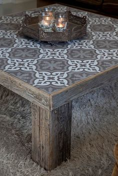 140 Gorgeous Outdoor Tables: The Rustic Style Tiled Coffee Table, Outdoor Coffee Tables, Pallet Furniture, Furniture Makeover, Painted Furniture, Rustic Furniture, Decoration Palette, Tile Tables, Diy Garden Decor