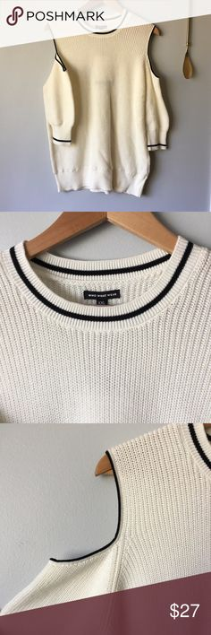 """WWW Ribbed Cold Shoulder Sweater Ribbed Cold Shoulder Sweater//White with black detailing//10"""" hole opening on shoulder//19"""" sleeve length//24"""" sweater length//100% cotton//NWT Who What Wear Sweaters Crew & Scoop Necks"""
