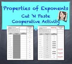 "Properties of Exponents Cut 'N Paste Cooperative Activity ""QUIZ"""