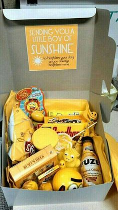 Send a box of yellow goodies to your sunshine. This concept works for the following as well; all red items for love aka  Valentine's Day, all pink for Mother's Day or baby girl, blue for baby boy or Father's Day, all green for Earth Day etc.   G;)