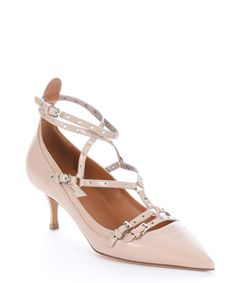 3140104920afb0 Freakin  Pink -Valentino Nude Leather Grommeted Ankle Strap Kitten Pumps  High Heel Pumps