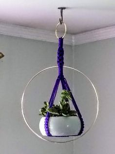 Modern Macrame Brass Ring Plant Handcrafted unique Plant hanger / Indoor Outdoor ~~~ other colors available / free ship Macrame Hanging Planter, Macrame Plant Holder, Plant Holders, Hanging Planters, Flower Planters, Flower Pots, Neon Pothos, Pot Hanger, Unique Plants