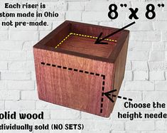 """8"""" x 8"""" Furniture/Bed Risers with 1"""" pocket (sold individually, not as a set) - Edit Listing - Etsy Furniture Risers, Bed Risers, Bed Furniture, Raised Beds, Marketing And Advertising, Handmade Items, Decorative Boxes, Pocket, Wood"""