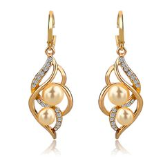 New Brand 4 Colors 2016 Double Simulated Pearl Earrings For Women Bijoux  Femme Crystal Gold Silver Earrings Wedding Brincos Style  Pearl Earrings Christmas  ... 25f8e0df852b