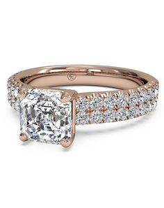 Asscher Cut Double French-Set Band Engagement Ring in 18kt Rose Gold (0.59 CTW)