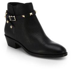 Valentino Rockstud Pebbled Leather Biker Ankle Boots ($1,295) ❤ liked on Polyvore