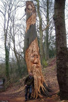Carving out a niche for himself, the artist uses chainsaw to create his…