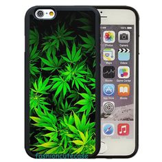 Green Weed Leaves Rubber Phone Case Cover.