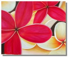 Easy Flower Paintings On Canvas | ... Flowers / Floral :: Red Frangipani with white yellow flower painting