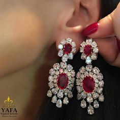 YafaSignedJewels , celebrate with ruby and diamond earrings