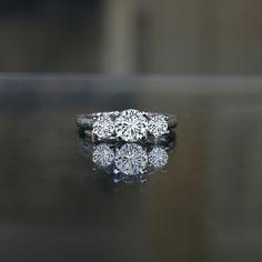 1.50 ct tw (1 ct center),three stone ring diamond simulant-diamond veneer® set in sterling silver platinum electroplated. 635r71646 , simulated diamond wedding ring.