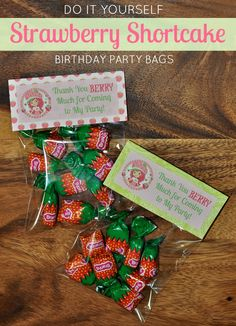DIY Strawberry Shortcake Birthday Party Treat Bags