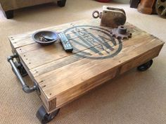 Industrial Railroad Coffee Table Cart with 5 metal swivel caster wheels. This is a low-riding, heavy duty coffee table built to last! The table was fabricated from an old wooden pallet and stamped with Norfolk & Western RY graphics to resemble an old industrial cart. Cast iron pipes make the handles that extend 2.5 on each end. Dimensions are 35.5 long x 21.5 wide x 11 tall. The cart weighs in at over 50 lbs. Ready to ship immediately. Custom orders welcome