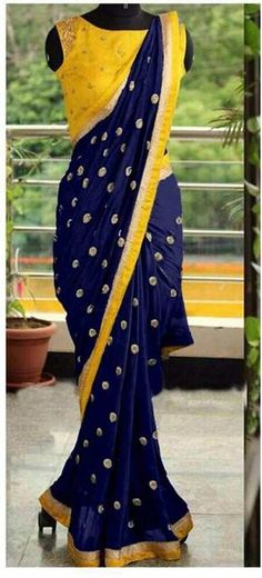 Saree Fabric-Georgette work - embroidery+seqwance Blouse fabric- *Banglori silk+ embroidery work*