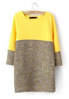 Yellow Patchwork Long Sleeve Wrap Cotton Mini Dress