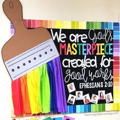 Last year, I redecorated my church Sunday School classroom with a rainbow theme. Here is a look at this popular paintbrush MASTERPIECE bulletin board set and how I made it!