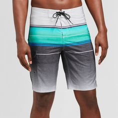 2d86bdc69a Add some cool style to your swimwear with the Ombre Blue Striped Board  Shorts from Goodfellow