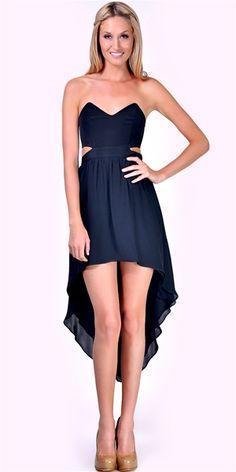 Jennifer Hope - Strapless Cut Out High Low Dress - Black/Black