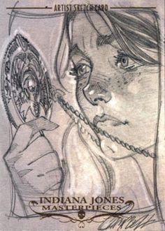 indiana jones sketch cards by j. scott campbell