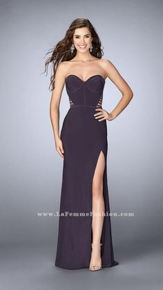 f5e402ef La Femme 23592 | La Femme Grey Prom Dress, Homecoming Dresses, Strapless Dress  Formal