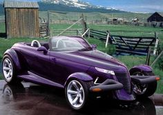 Plymouth Prowler in purple.  Because this has always been my dream crazy-old-lady car.  I want to drive this (terribly) when I'm 90.