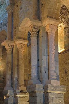 Church detail of Romanesque Monastery of San Pedro de Roda, Catalunya, Spain San Salvador, Pre Romanesque, Ottonian, Carolingian, 11th Century, Spain Travel, Byzantine, Architecture, Places