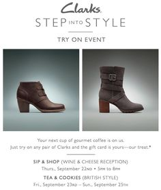 We've got a lot of exciting things going on this week with Clarks starting with a Wine and Cheese Sip and Shop event tomorrow from 5-8pm. Try on any pair of Clarks and receive a free Starbucks gift card! . . . . . . #free #freeevent #igersboston #igersbrookline #boston #brookline @clarksshoes @clarksoriginals #sipandshop #wine #wineandcheese #giveaway #shopping #fashion #fall #firstdayoffall #fall2016 #shoes #boots #booties #simonsshoes #whattowear #style #tryonevent #clarks #freestarbucks…