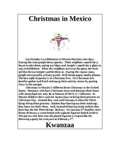 Children are surrounded with Christmas images every November and December.  But, do they know about the other winter holidays celebrated in the United States?  Here are short summaries of las Posadas, Kwanzaa and Hanukkah.
