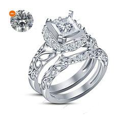 0.69 Ct White Gold Over Princess Lab Diamond Womens Engagement Bridal Ring Set  #Aonejewels #WeddingEngagementAnniversaryPartyWear