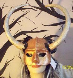 Masquerade Warrior horned Viking helmet Halloween mask, paper mache, renfaire,larp, Large silver color horns, sculpted mask. $45.50, via Etsy.