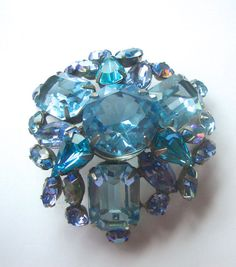 Blue Blue and more Blue!  Schreiner New York Brooch Pendant Combo Blues by CrimsonVintique, $400.00