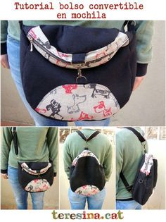 Tutorial bag 2 in Shoulder strap and backpack - Teresina, sa Crafts Patchwork Bags, Quilted Bag, Mochila Floral, Mochila Tutorial, Denim Bag Patterns, Crochet Shell Stitch, Backpack Pattern, Crochet Handbags, Fabric Bags