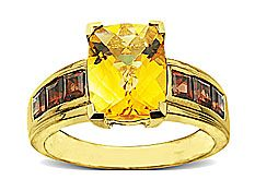 Citrine and Garnet Ring in 14K Gold