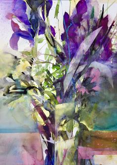 Watercolor Plants, Watercolor Artists, Abstract Watercolor, Watercolor Illustration, Watercolor Paintings, Art Floral, Abstract Flower Art, Iris Painting, Plant Painting