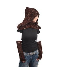 Knit Shawl/ Hand Knit Wool Shawl and Hood Mohair with a Turtleneck in Set with Handwarmers by Solandia, orange brown. $87.00, via Etsy.