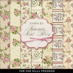 Far Far Hill - Free database of digital illustrations and papers: New Freebies Vintage Style Kit of Paper - Summer S...