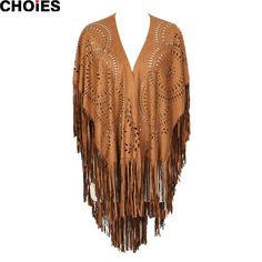 CHOIES Women Coffee Faux Suede Leather Cut Out Summer Beach Cover Up Kimono Long Fringes Tassels Thin Coat Cardigan Jacket 2015