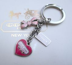 Coach Pink Ribbon Heart BCA Breast Cancer Awareness Key Fob Chain Keychain RARE #Coach