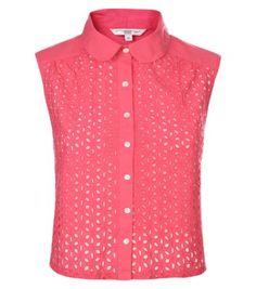 Pink Cut Out Peter Pan Collar Sleeveless Shirt - love this - brilliant for warmer weather with full skirt, pencil skirt with blazer on top