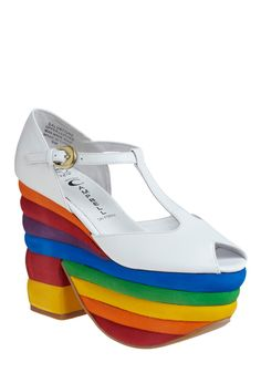 Spectacular Spectrum Wedge. Show the world that groove is not only in your heart, it's also in your step with these radical rainbow Jeffrey Campbell mega platforms! #multi #modcloth