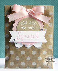 Project designed by Heather Pulvirenti. Reverse Confetti stamp set: So Very Special. Confetti Cuts: Tag Me, Too, and Circles 'n Scallops. Party favor. Birthday gift. Teacher appreciation.