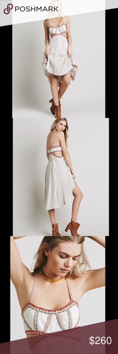 ❗️1DAY SALE+FREE SHIP❗️FREE PEOPLE cutout dress Crinkle gauzy stitch dress featuring side cutouts and a flowy skirt. Crisscross straps in back with an exposed zip. Lined.   Retail: $228 size: 4 or small.                                                          ❤I have over 300 new with tag Free People items for sale! I love to offer bundle discounts!     ❤No trades. Please use the offer button to submit offers! Free People Dresses Midi