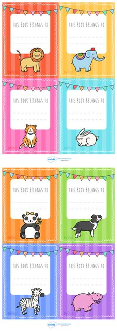 Twinkl Resources >> Animal Themed This Book Belongs To Labels >>… Book Labels, Kids Labels, Printable Labels, School Name Labels, Name Tag For School, Mason School, Free Teaching Resources, Primary Teaching, Kids Class